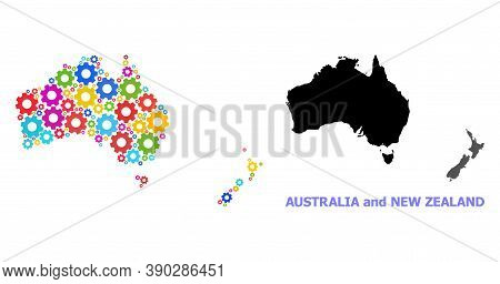 Vector Mosaic Map Of Australia And New Zealand Done For Engineering. Mosaic Map Of Australia And New