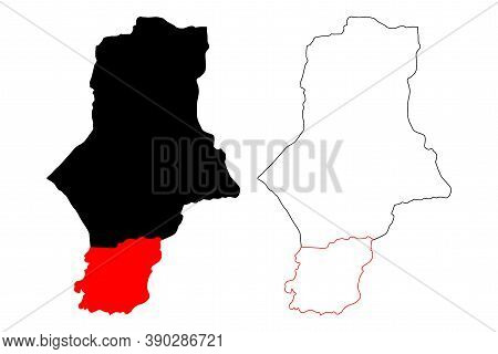 South Darfur State (republic Of The Sudan, North Sudan) Map Vector Illustration, Scribble Sketch Sou