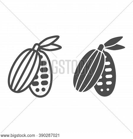Cocoa Beans Line And Solid Icon, Chocolate Festival Concept, Cocoa Pod Sign On White Background, Cac