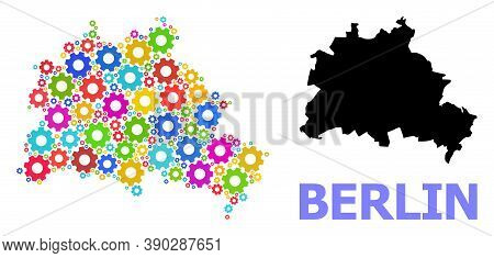 Vector Mosaic Map Of Berlin City Constructed For Services. Mosaic Map Of Berlin City Is Shaped Of Ra