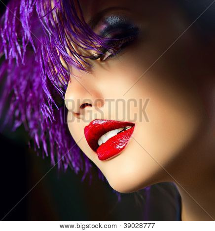 Fashion Art Girl Portrait With Violet Hair. Hairstyle. Punk Style Woman. Holiday Makeup.Party