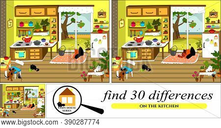 """Vector Cartoon Illustration From """"cozy House"""" Series Of Finding Differences."""