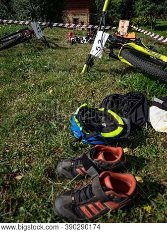 Radvanec, Czechia - 23th Of August 2020. The Samuel Xc Triathlon Event. Depot Of The Hobby Race. Dow