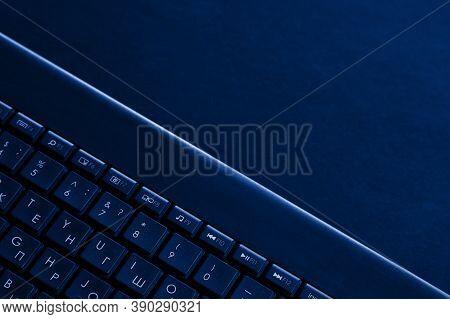 Laptop Keys Are Tinted Blue. Laptop Keyboard Tinted Blue