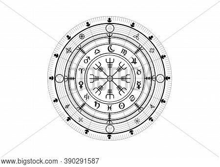 Wiccan Symbol Of Protection. Vegvisir, The Viking Compass, Mystic Wicca Divination. Ancient Occult S