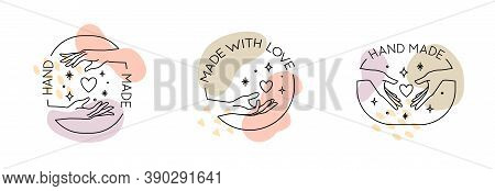 Vector Set With Trendy Hand Made Labels And Badges In Linear Modern Style. Collection Of Emblems Wit