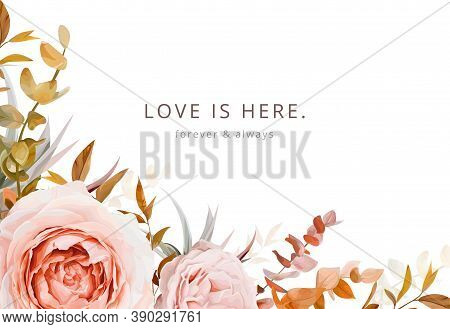 Trendy Floral Vector Wedding Invite Card, Greeting, Poster Design In Warm Fall Colors. Pink, Blush P