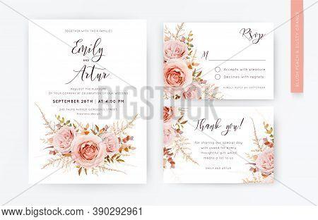 Elegant Vector Wedding Invite, Rsvp, Thank You Card Template Set. Blush Peach Rose Flowers, Autumn B