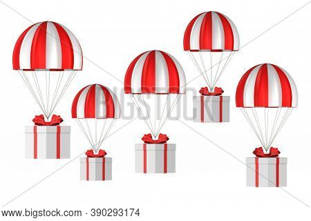 white box with red bow and parachute on white background. Isolated 3D illustration