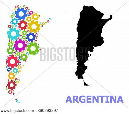 Vector Mosaic Map Of Argentina Created For Engineering. Mosaic Map Of Argentina Is Created From Rand