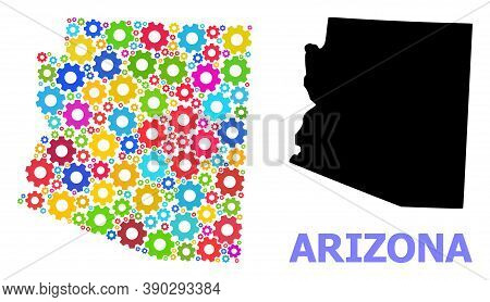 Vector Mosaic Map Of Arizona State Organized For Mechanics. Mosaic Map Of Arizona State Is Composed