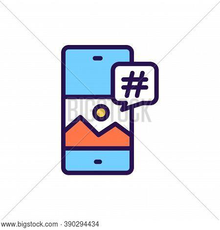 Hashtag Line Color Icon. Smm Promotion. Outline Pictogram