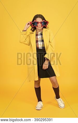 Fancy Look. Little Girl With Autumn Look. Party Look Of Fashion Schoolchild. Small Child Look Geeky