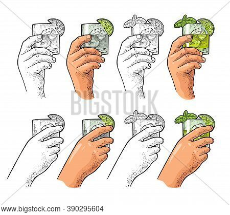 Hands Holding Glass Cocktail Gin With Basil And Lime. Vintage Vector Engraving