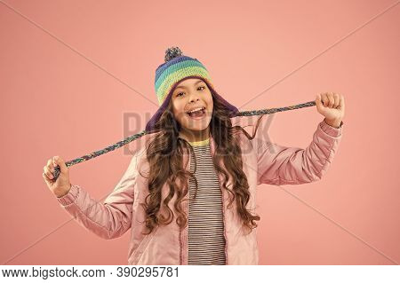 Playful Mood. Accessory Protect Head. Adorable Small Child Wear Knitted Accessory. Cute Little Girl