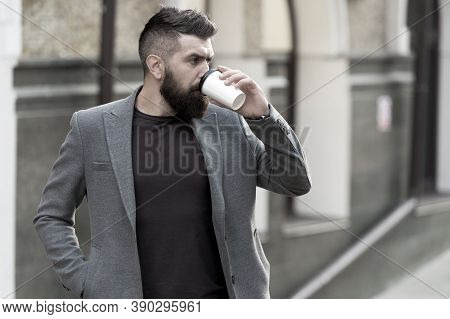 Relax And Recharge. Man Bearded Hipster Drinking Coffee Paper Cup. One More Sip Of Coffee. Drinking