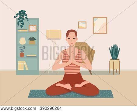 A Young Woman Enjoys Meditation. Cute Girl With Crossed Legs Practicing Yoga At Home. A Smiling Girl