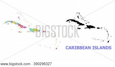 Vector Composition Map Of Caribbean Islands Combined For Engineering. Mosaic Map Of Caribbean Island