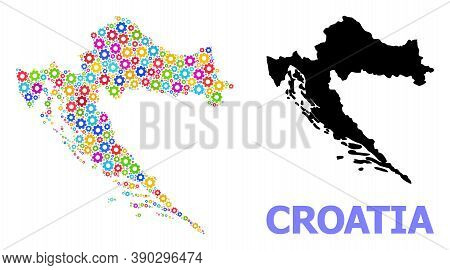 Vector Mosaic Map Of Croatia Created For Engineering. Mosaic Map Of Croatia Is Shaped From Randomize