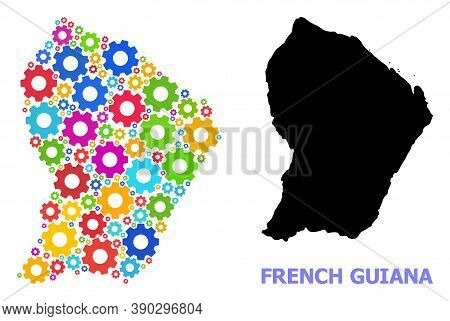 Vector Mosaic Map Of French Guiana Constructed For Workshops. Mosaic Map Of French Guiana Is Designe