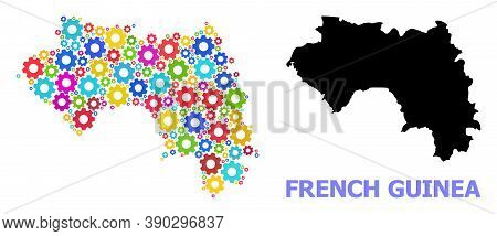 Vector Mosaic Map Of French Guinea Combined For Services. Mosaic Map Of French Guinea Is Formed With