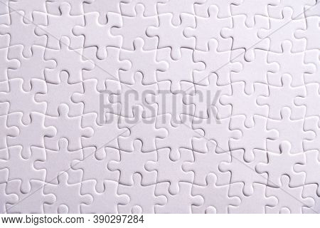 Puzzle Background, White Puzzle Consists Of Many Pieces
