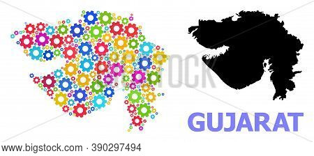 Vector Collage Map Of Gujarat State Designed For Engineering. Mosaic Map Of Gujarat State Is Designe