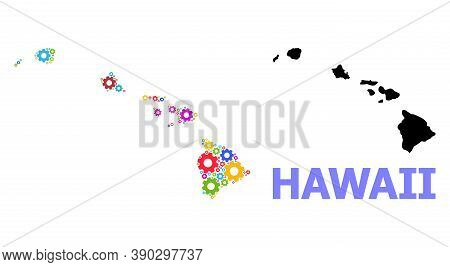 Vector Mosaic Map Of Hawaii State Designed For Engineering. Mosaic Map Of Hawaii State Is Done From
