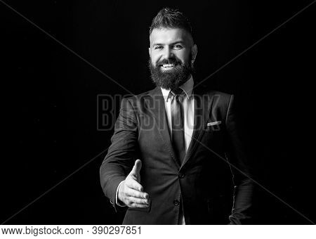 Portrait Of Smiling Businessman Shaking Hands. Man Professional Possibly Accountant Architect Busine