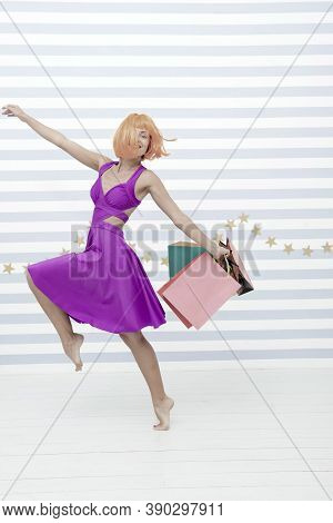 Fashion. Black Friday Sales. Happy Woman Go Shopping. Last Preparations. Big Sale In Shopping Mall.