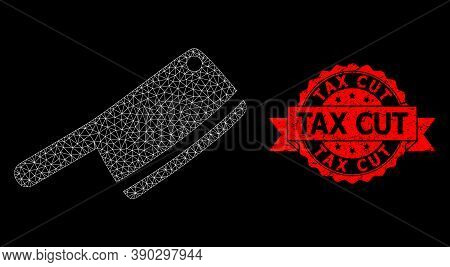 Mesh Net Butchery Knife On A Black Background, And Tax Cut Scratched Ribbon Seal Imitation. Red Stam