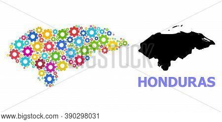 Vector Mosaic Map Of Honduras Organized For Engineering. Mosaic Map Of Honduras Is Composed From Sca