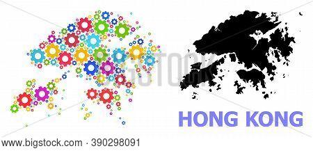 Vector Mosaic Map Of Hong Kong Constructed For Industrial Apps. Mosaic Map Of Hong Kong Is Made From