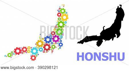Vector Mosaic Map Of Honshu Island Designed For Engineering. Mosaic Map Of Honshu Island Is Made Fro