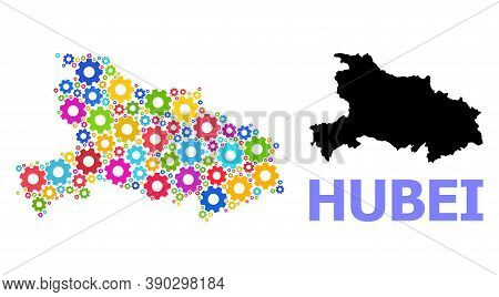 Vector Mosaic Map Of Hubei Province Organized For Industrial Apps. Mosaic Map Of Hubei Province Is O