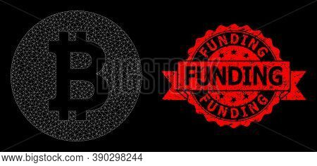Mesh Polygonal Bitcoin Coin On A Black Background, And Funding Scratched Ribbon Seal Imitation. Red