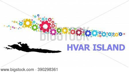 Vector Mosaic Map Of Hvar Island Combined For Mechanics. Mosaic Map Of Hvar Island Is Organized From