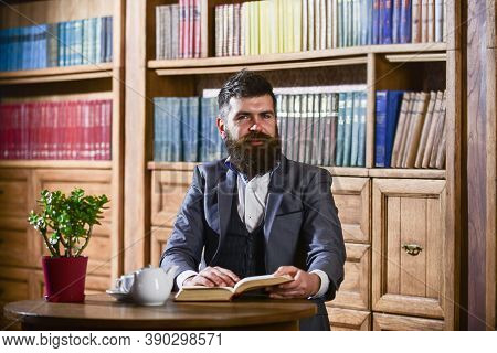 Aristocratic Lifestyle Concept. Aristocrat On Smiling Face Holds Book.