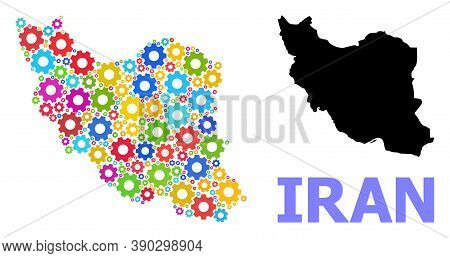 Vector Mosaic Map Of Iran Designed For Workshops. Mosaic Map Of Iran Is Composed From Random Bright