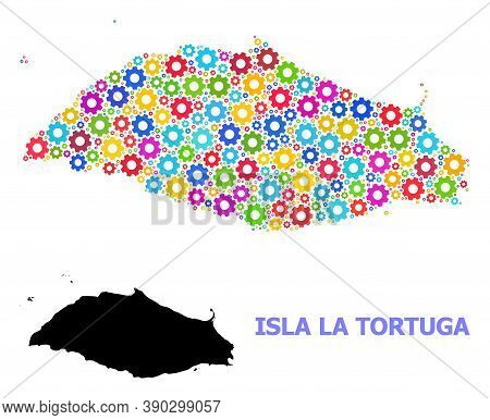 Vector Mosaic Map Of Isla La Tortuga Designed For Engineering. Mosaic Map Of Isla La Tortuga Is Orga
