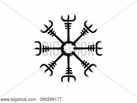 Helm Of Awe, Icelandic Magical Stave, Vegvisir Runic Compass. Viking Symbols For The Purpose Of Prot