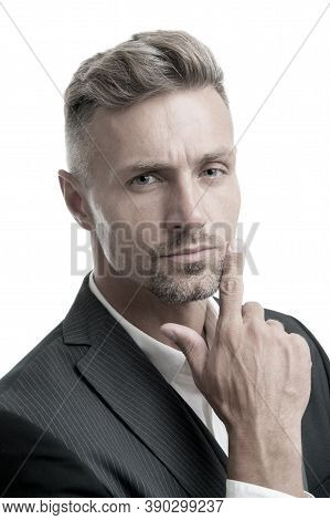 Portrait Of Mature Macho. Gentleman Hipster Hairstyle. Barber Shop Concept. Beard And Mustache. Guy