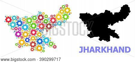 Vector Composition Map Of Jharkhand State Combined For Engineering. Mosaic Map Of Jharkhand State Is