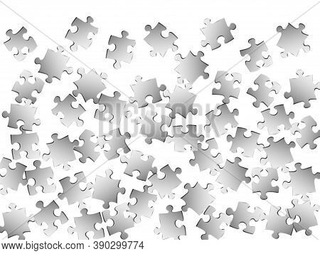 Business Teaser Jigsaw Puzzle Metallic Silver Parts Vector Illustration. Group Of Puzzle Pieces Isol