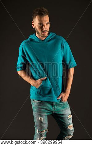 Style Concept. Confident In Style. Bearded Man In Casual Wear, Style. Casual Is His Life Style.