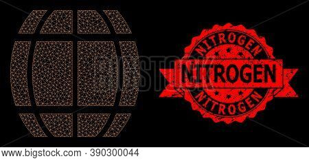 Mesh Network Barrel On A Black Background, And Nitrogen Textured Ribbon Stamp Seal. Red Stamp Has Ni