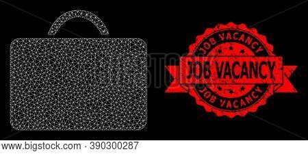 Mesh Polygonal Case On A Black Background, And Job Vacancy Grunge Ribbon Seal Print. Red Seal Has Jo