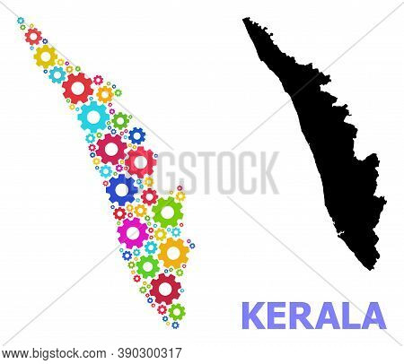 Vector Mosaic Map Of Kerala State Combined For Services. Mosaic Map Of Kerala State Is Formed Of Ran