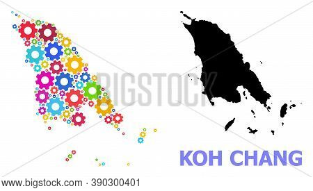 Vector Composition Map Of Koh Chang Designed For Industrial Apps. Mosaic Map Of Koh Chang Is Designe