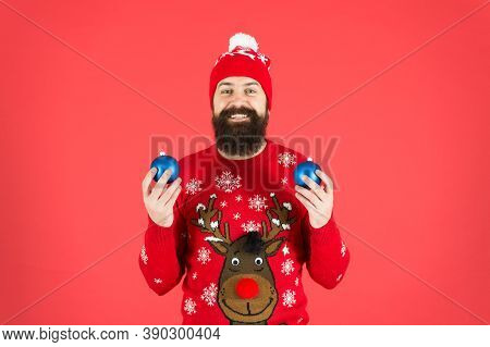 How To Handle Top Holiday Stress Triggers. Hipster Smiling Cheerful Bearded Man Wear Winter Sweater